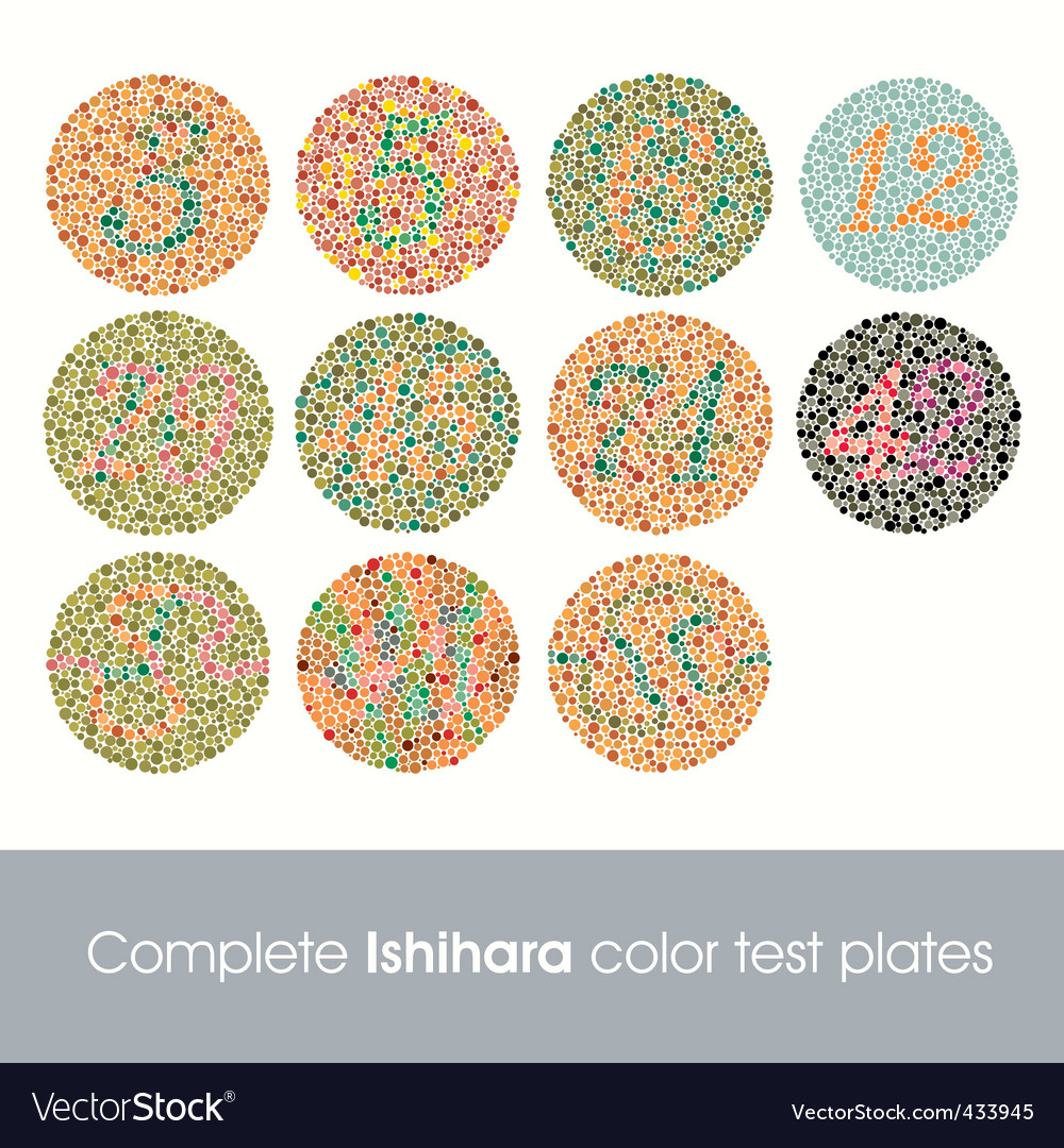 Complete Ishihara Color Test Royalty Free Vector Image