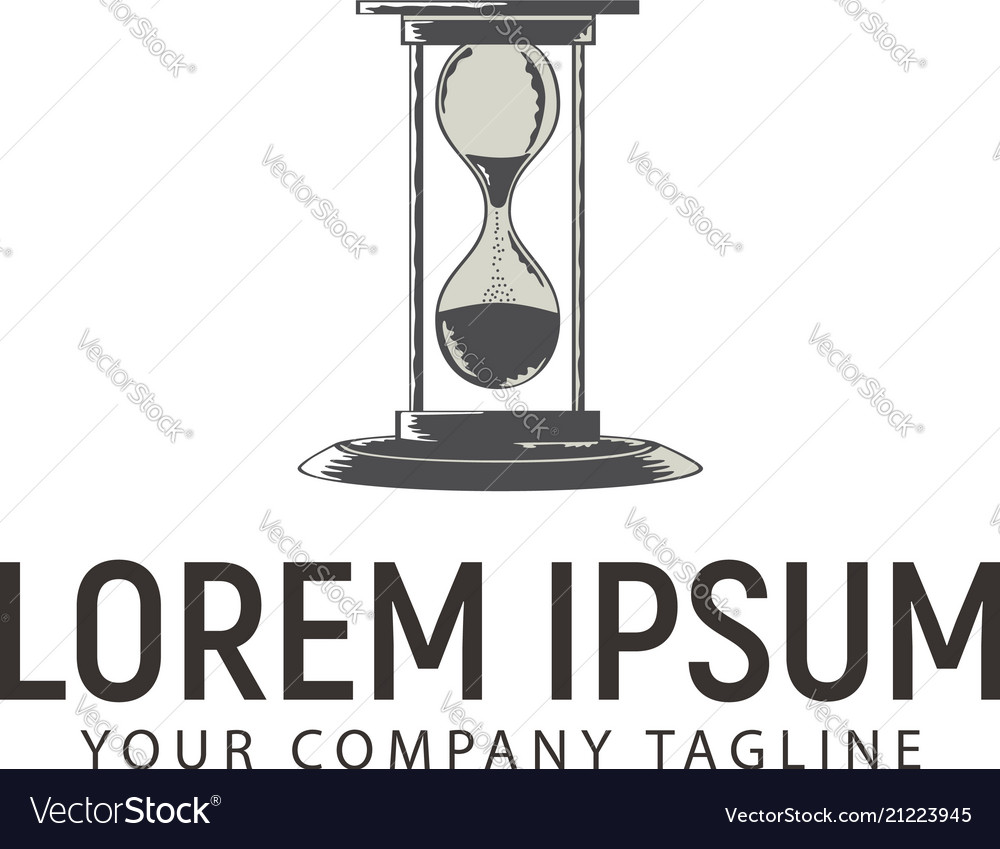 Hourglass hand drawn logo design concept template