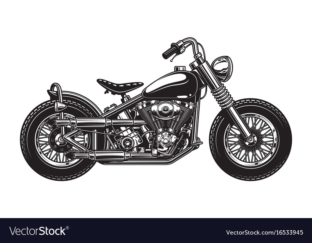 Monochrome of classic motorcycle