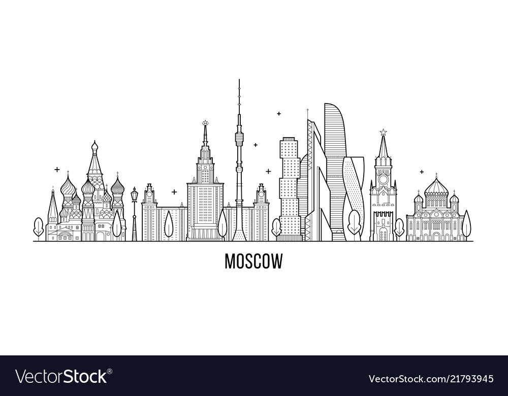 Moscow Skyline Russia City Buildings Line Vector Image