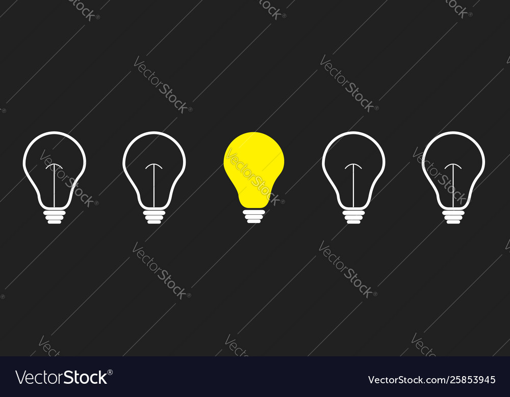 On off light bulb icon set line business idea