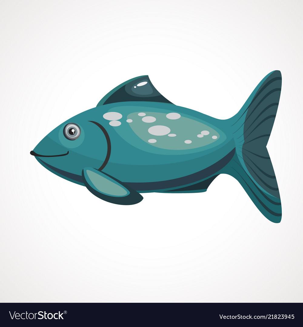 Sea Cartoon Blue Color Fish With Scales Vector Image