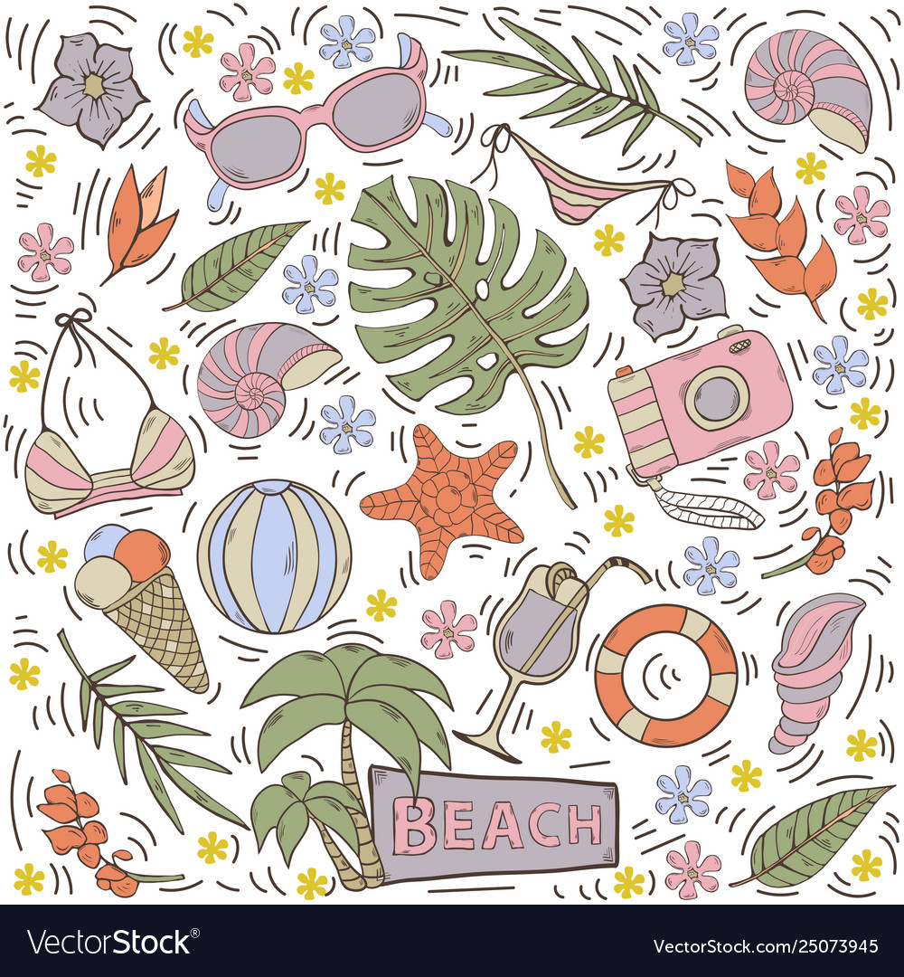 Seamless pattern with summer hand draw