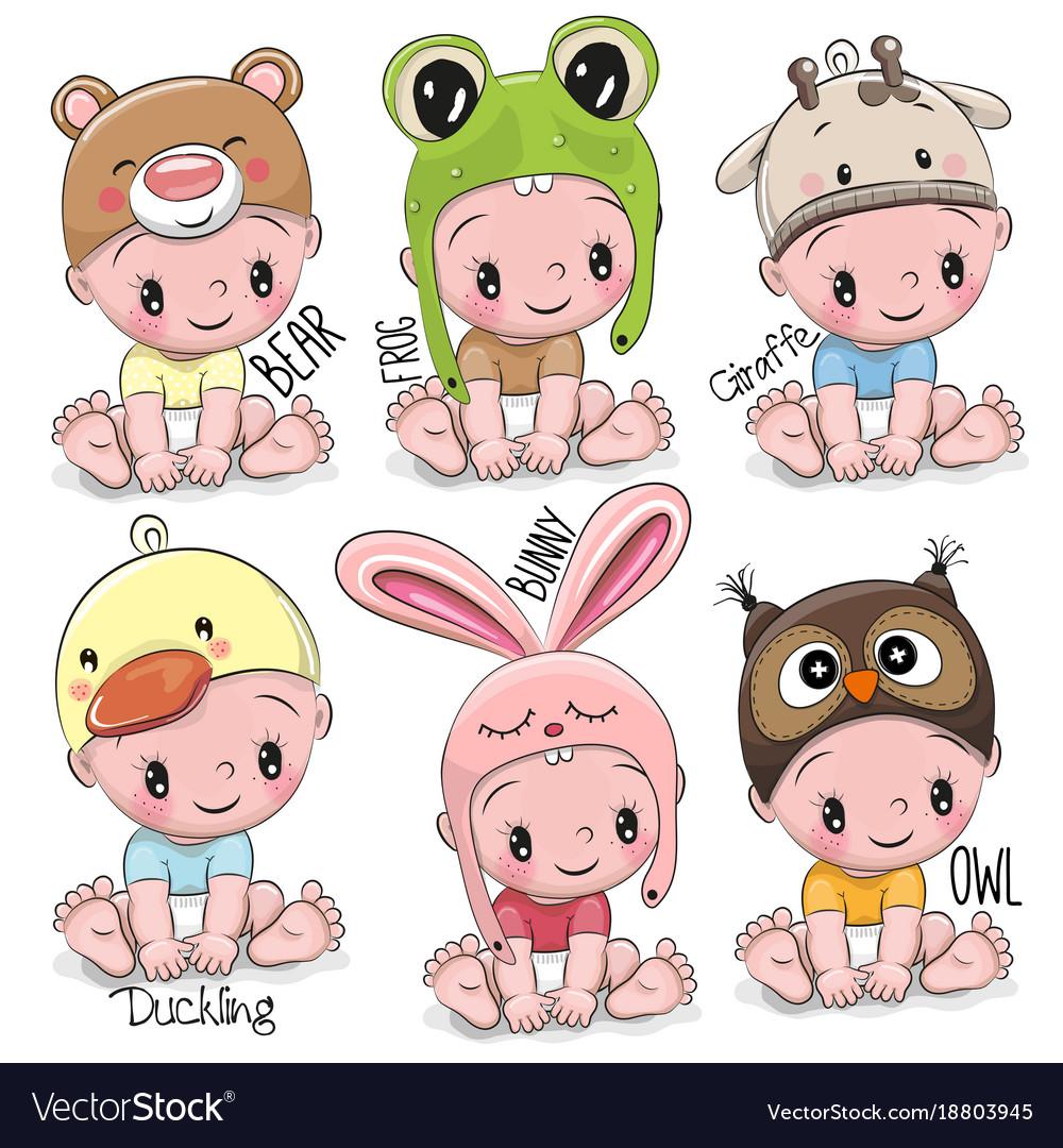 set of cute cartoon babies royalty free vector image rh vectorstock com cute babies cartoon pictures cartoon child pictures