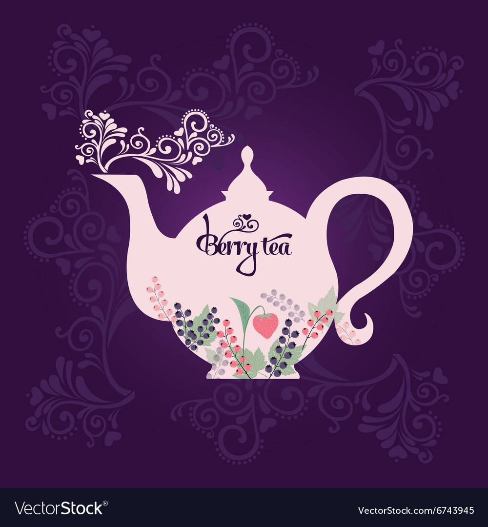 Teapot with berries