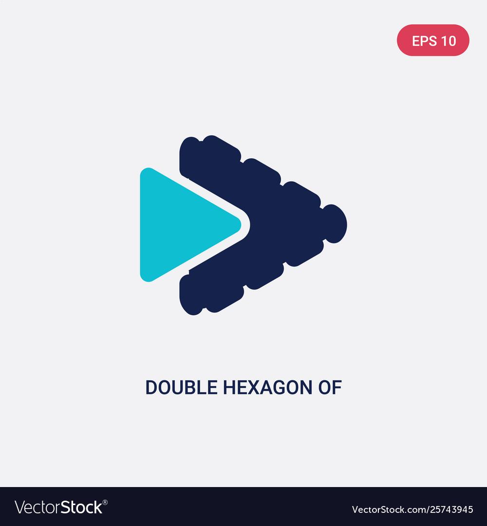 Two color double hexagon small triangles icon