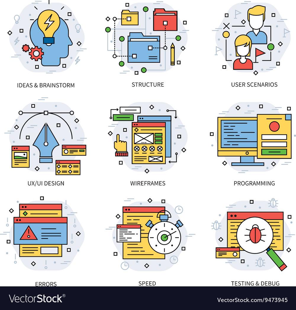 Web Development Line Concept