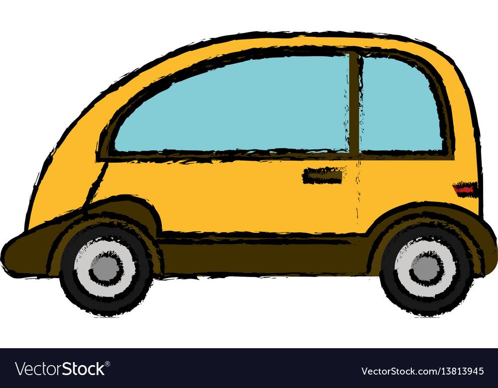 Yellow car vehicle transport vector image