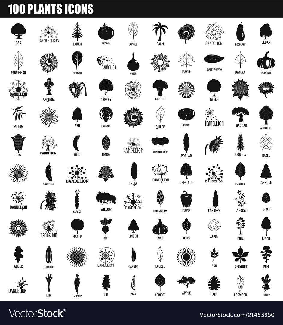 100 plants icon set simple style