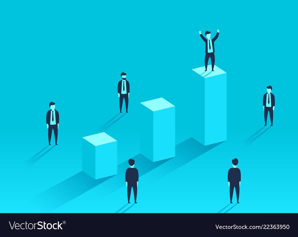 Businessman standing on the financial chart around