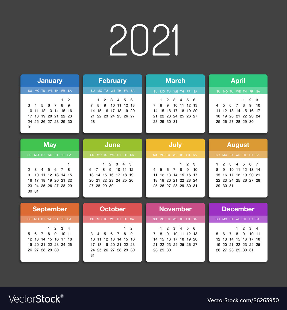 Days Calendar 2021 Calendar 2021 year template day planner in this Vector Image
