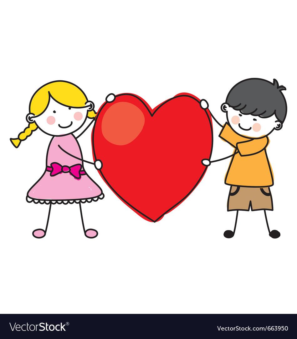 Children holding a heart vector image