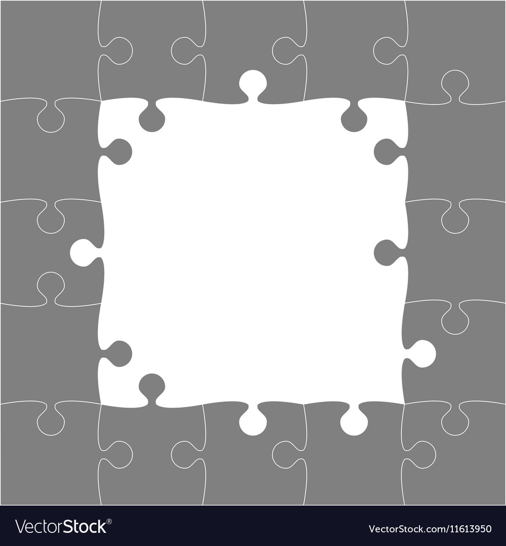 Grey Puzzles Pieces - JigSaw Frame - 25 Royalty Free Vector