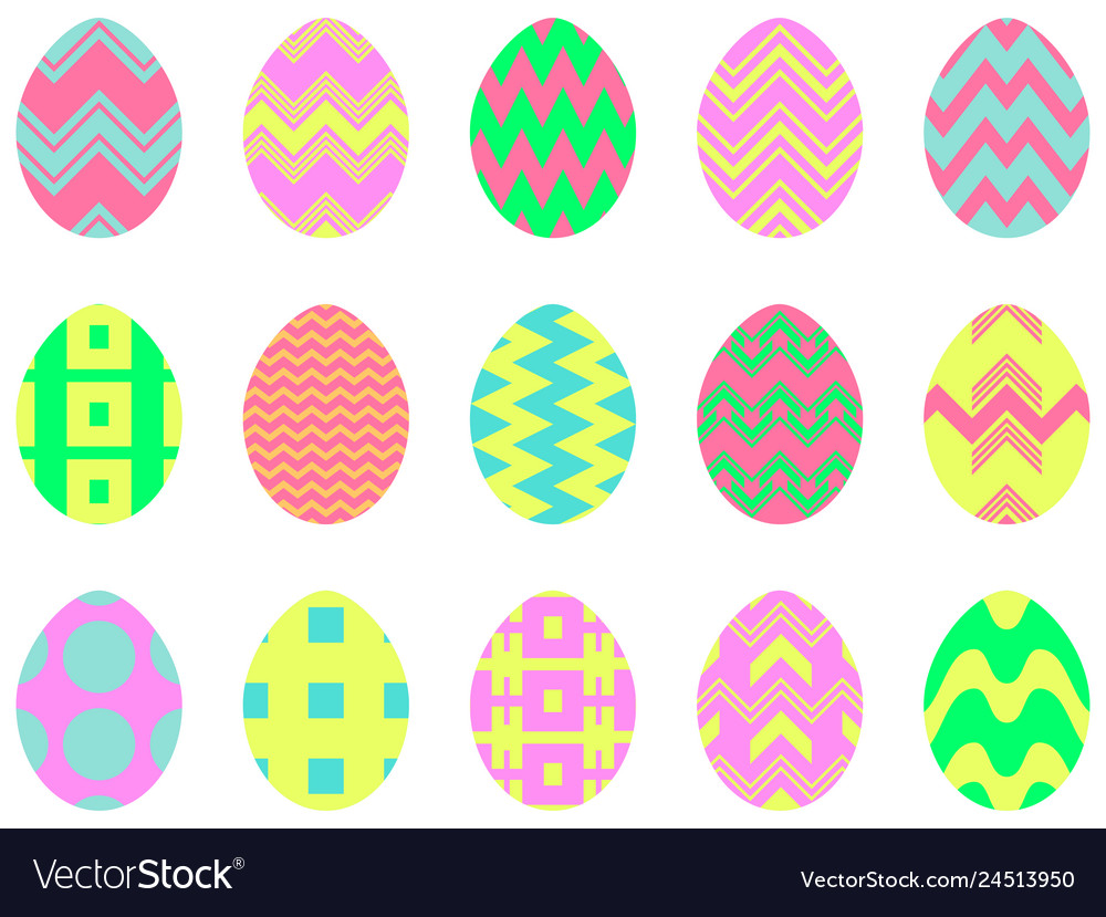 Happy easter collection of easter eggs with