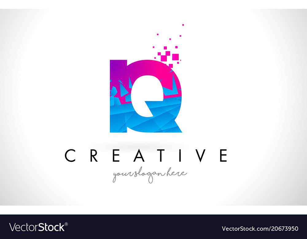 Iq I Q Letter Logo With Shattered Broken Blue