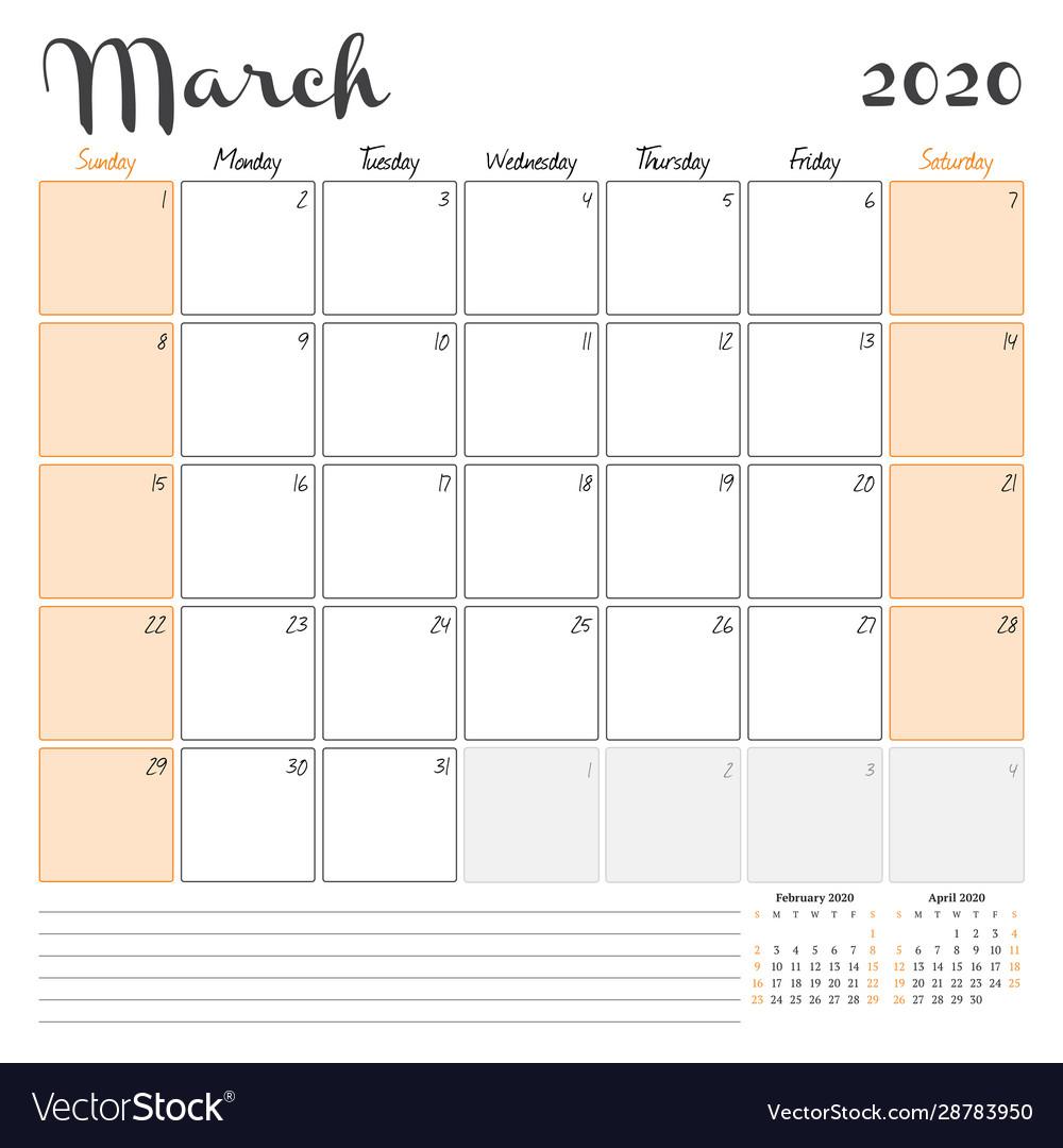 Free Download March 2020 Calendar Printable Templates Pdf: March 2020 Monthly Calendar Planner Printable Vector Image