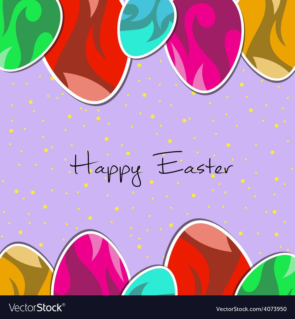 Paper eggs Happy easter card violet