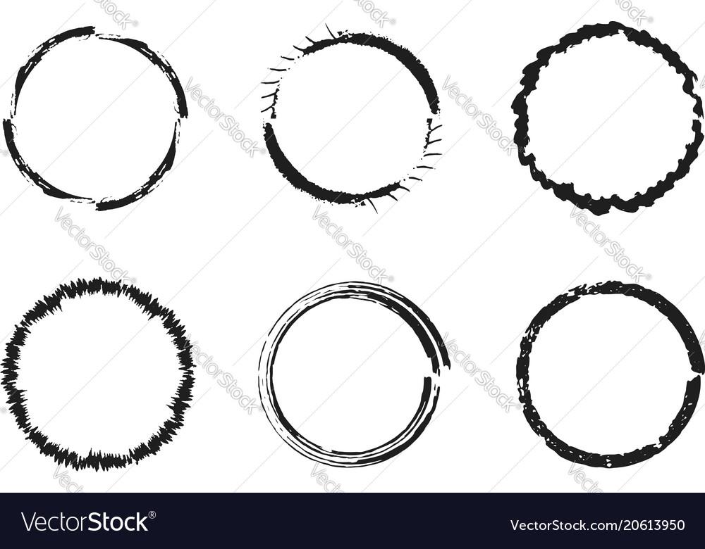 Set of black grunge circles round frames