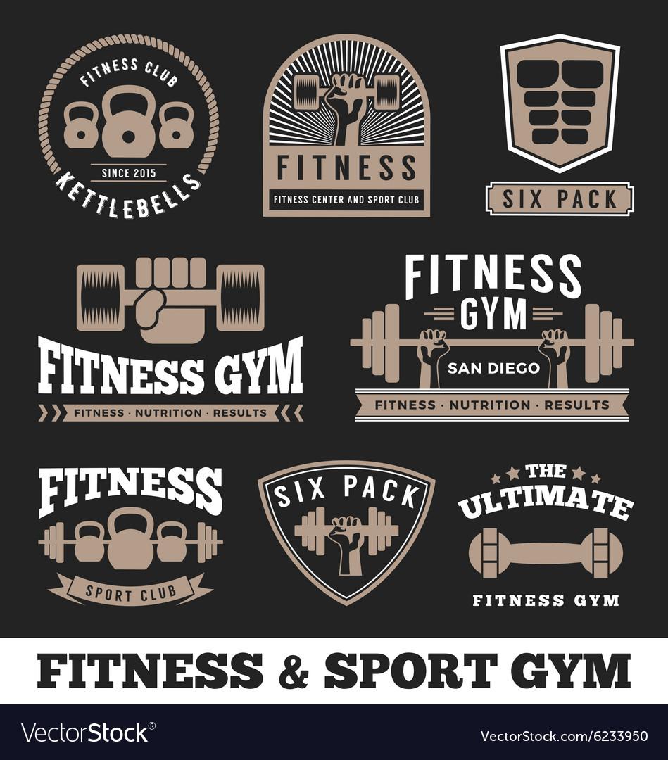 Set of fitness gym and sport club logo emblem vector image
