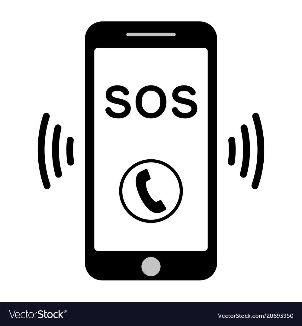 Sos call icon phone sos call help Royalty Free Vector Image