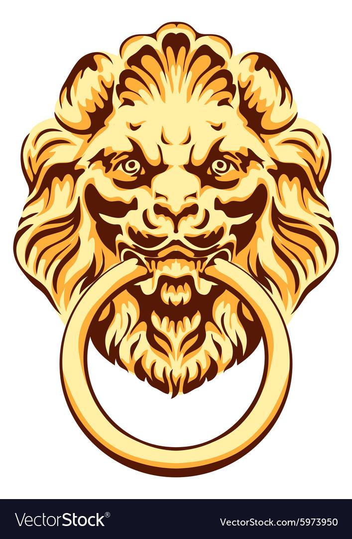 Ordinaire The Head Of A Lion   Door Handle Vector Image