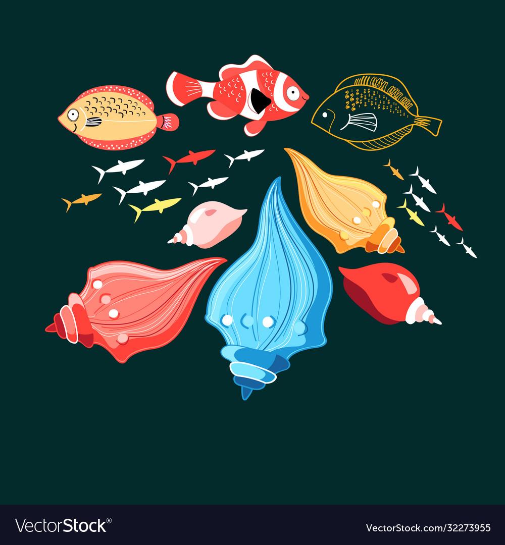 A fish and shells