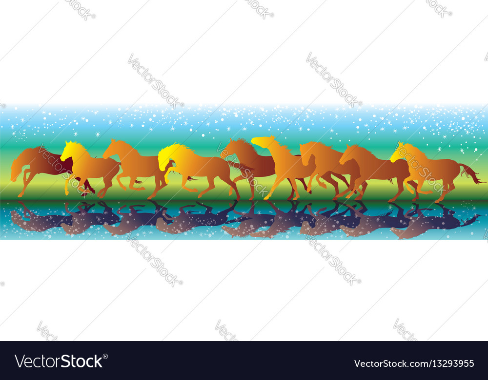 Background with orange horses running gallop on