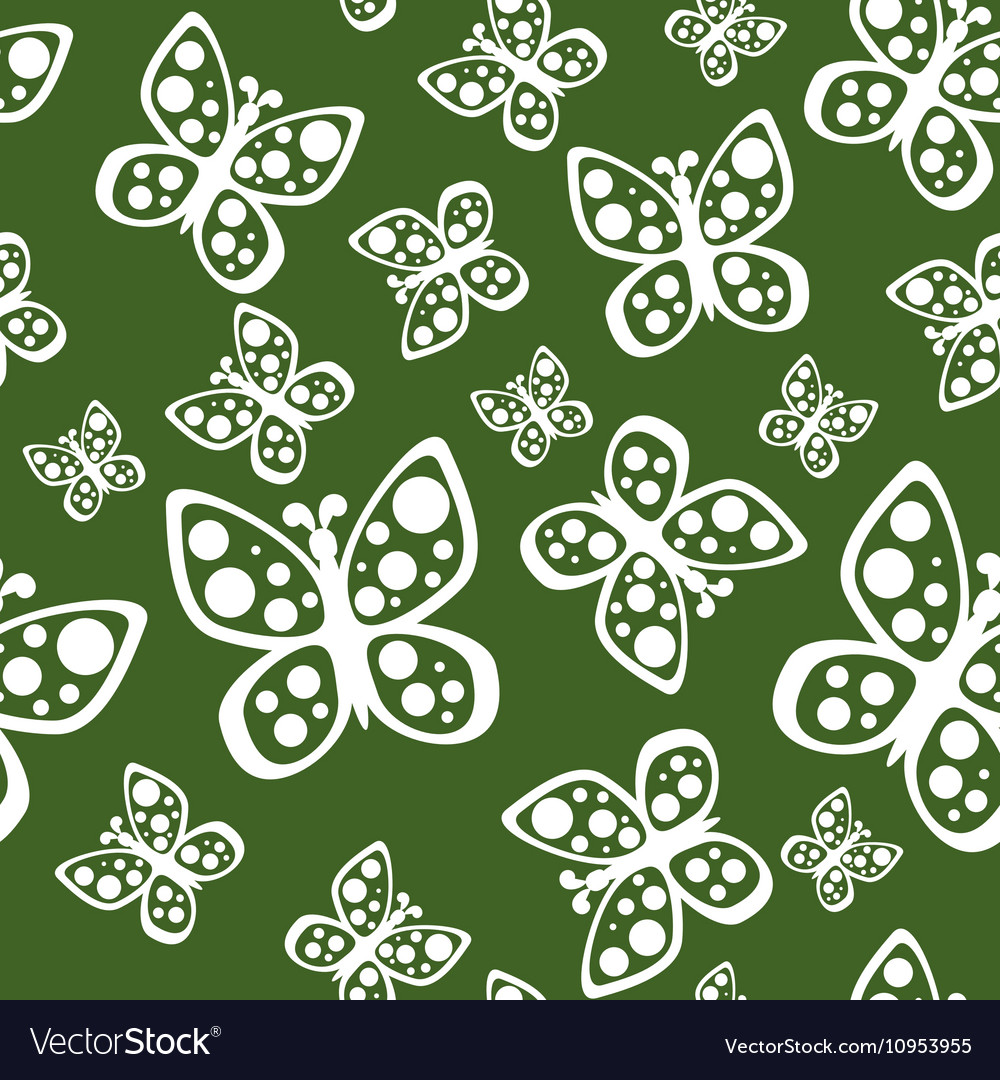 Beautiful seamless butterflies pattern in green vector image
