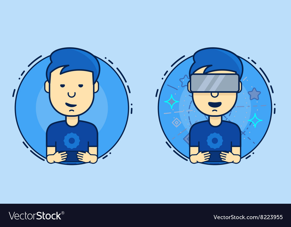 Boy playing on the virtual reality and smartphone vector image