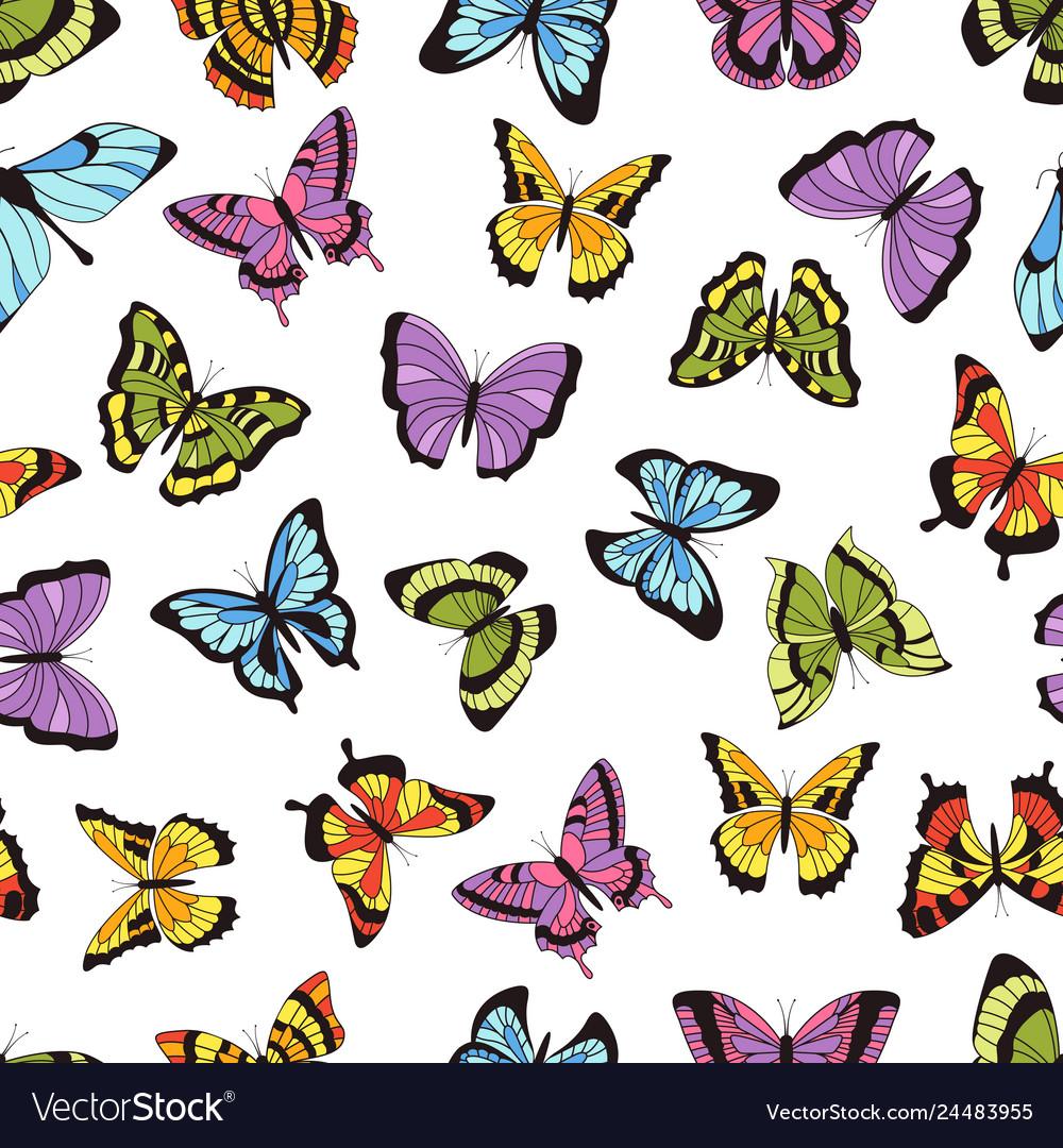 Butterfly seamless pattern floral garden print