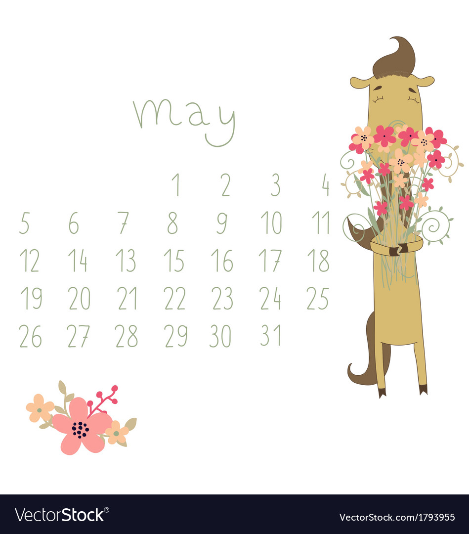 Calendar for May 2014 vector image