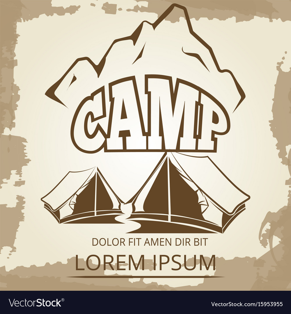 Camping label with tents and mountains on vintage