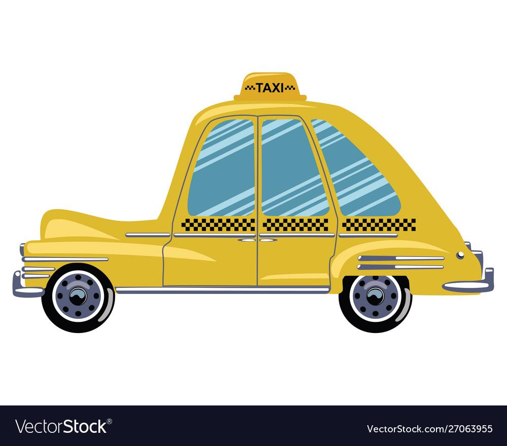 Cartoon retro car taxi a
