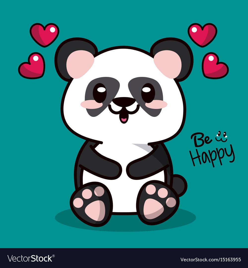 Color Background With Kawaii Animal Bear Panda And