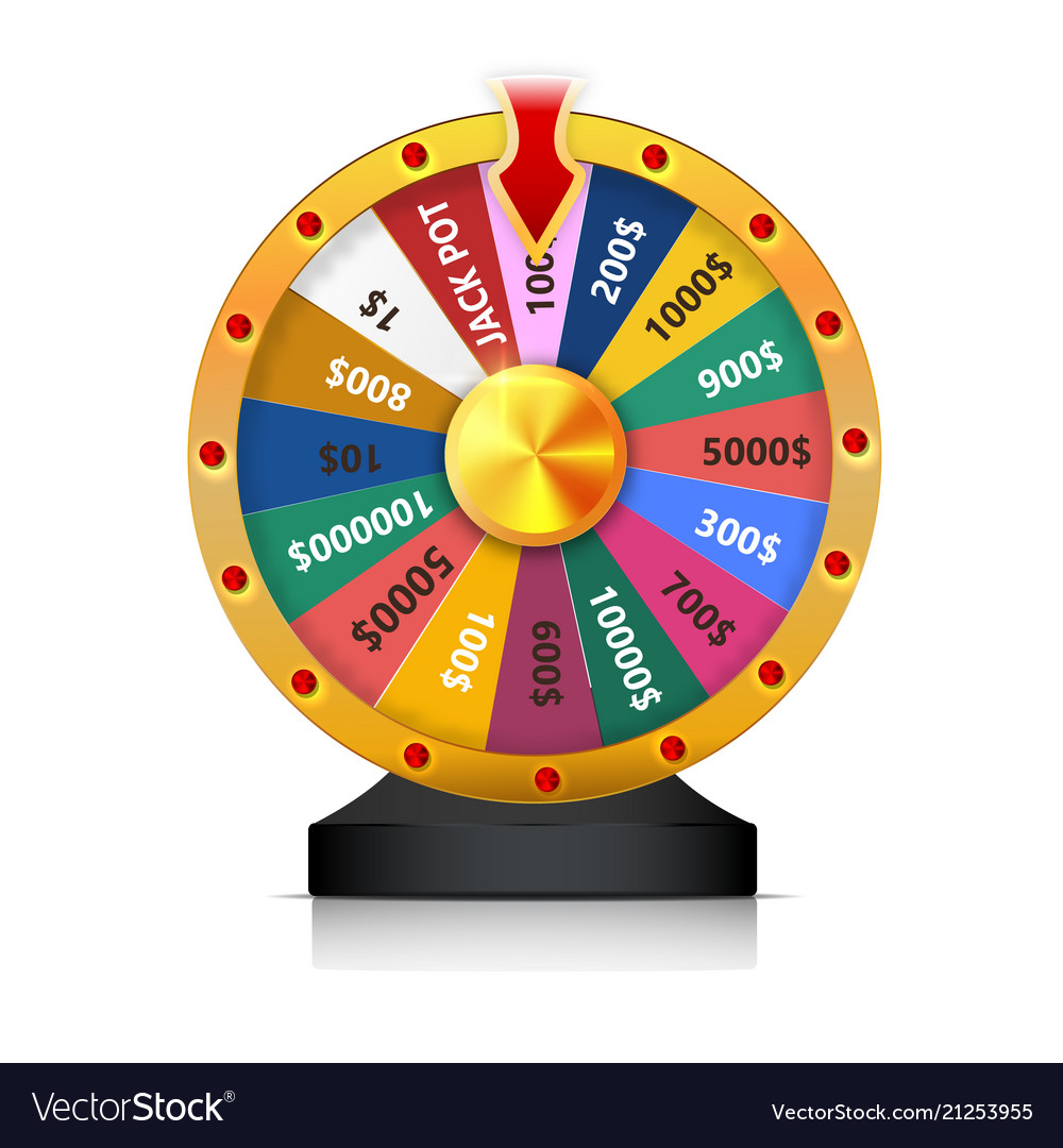 Concept of lottery win roulette fortune wheel