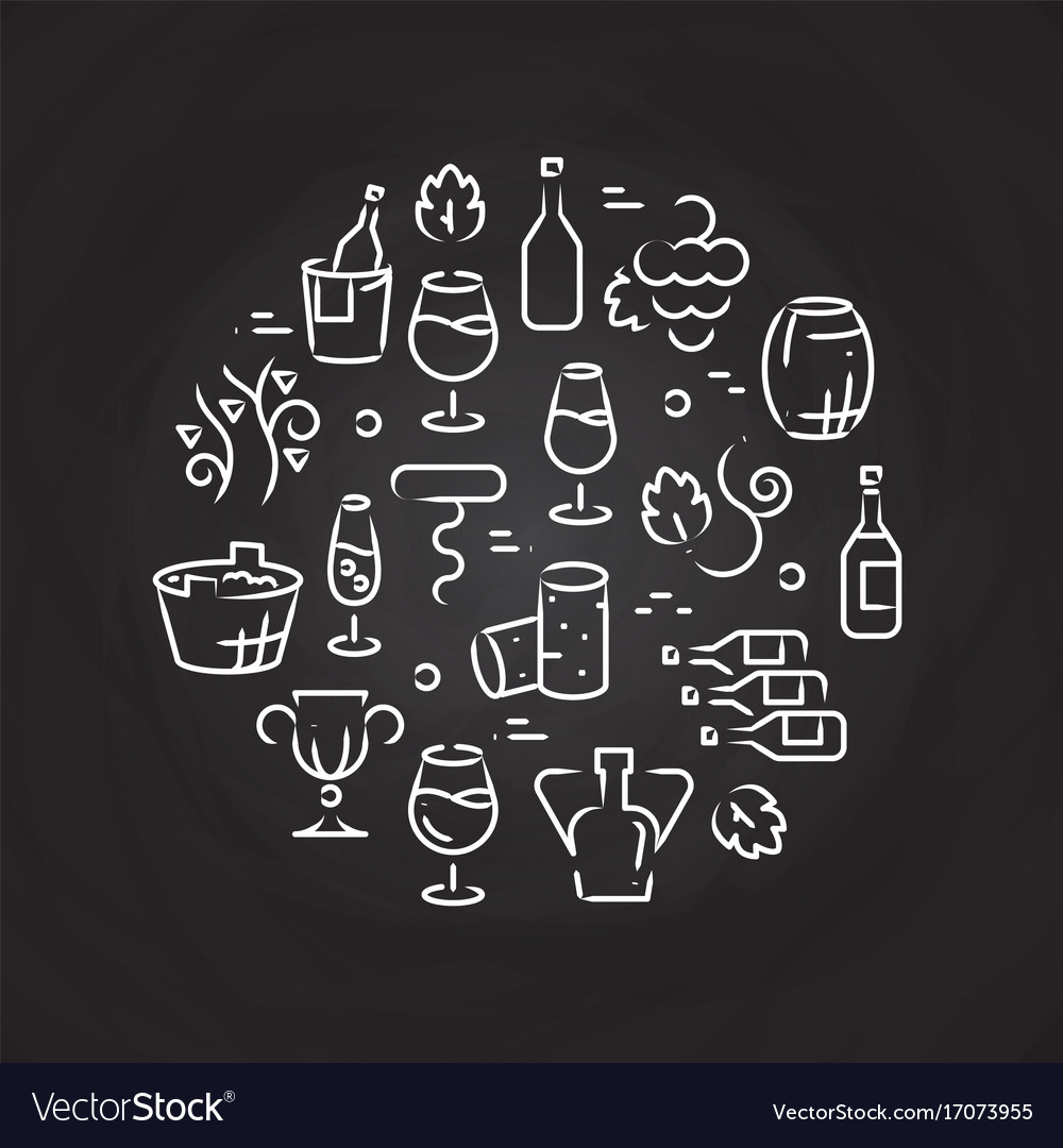 Drinks line icons - wine logo on chalkboard vector image