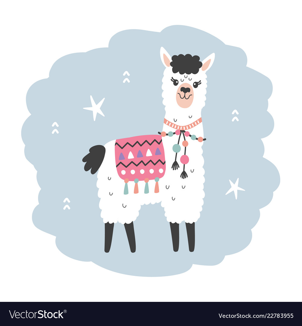Hand drawn cartoon llama character isolated