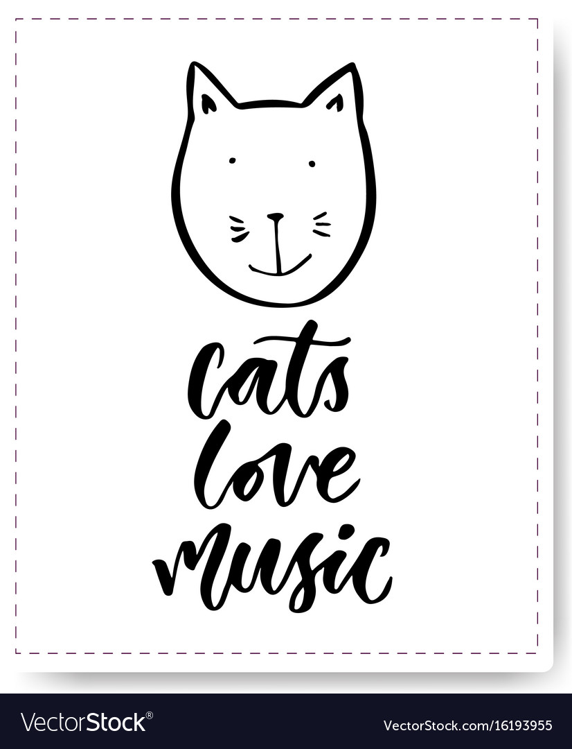 Hand drawn lettering with cute cat cats love
