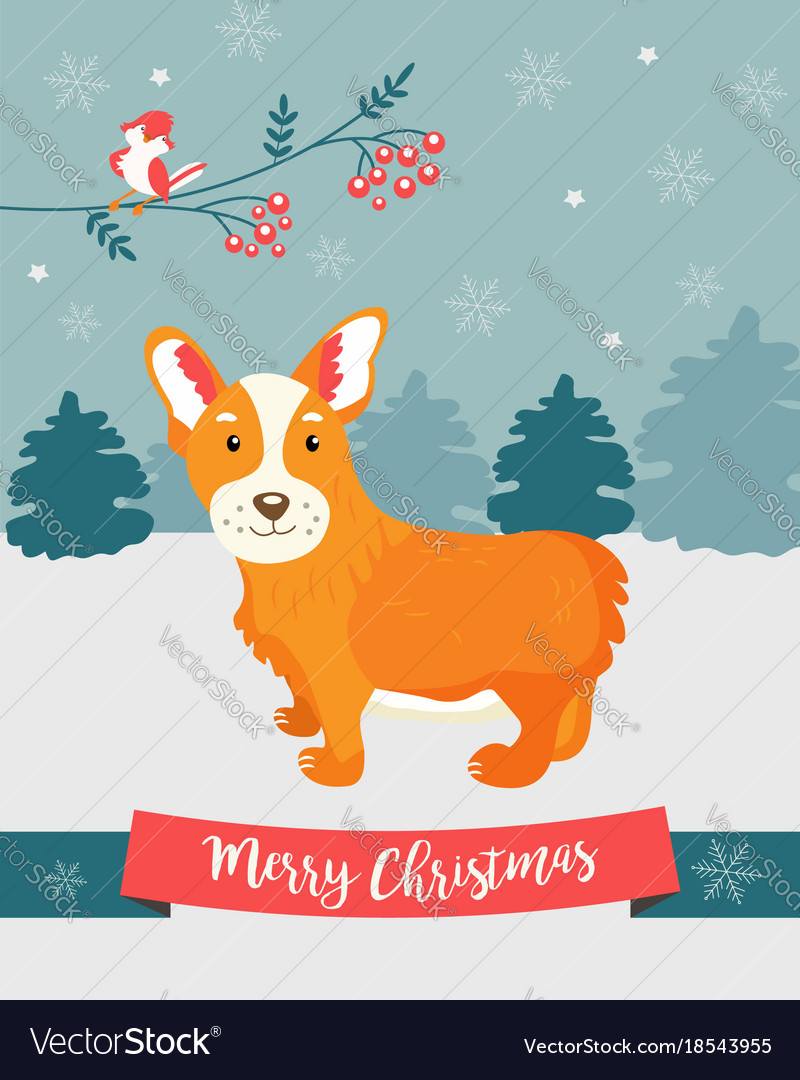 Holiday greeting card with cute corgi dog vector image m4hsunfo