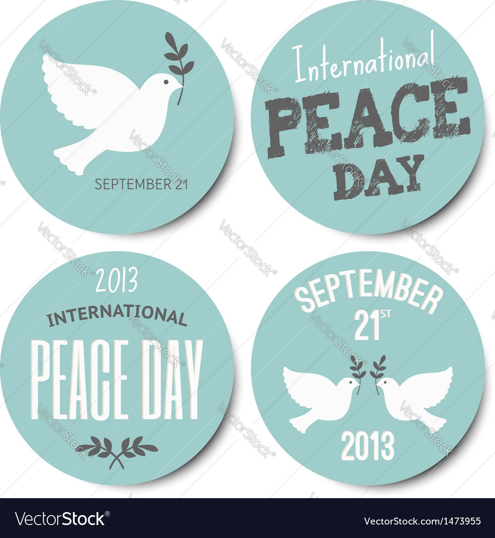 Peace day symbols stickers collection vector image