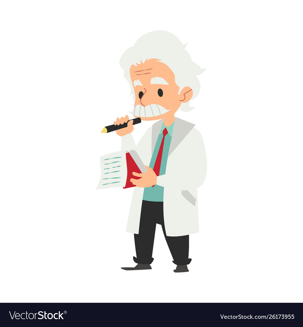 Professor or scientist writing idea in a notebook