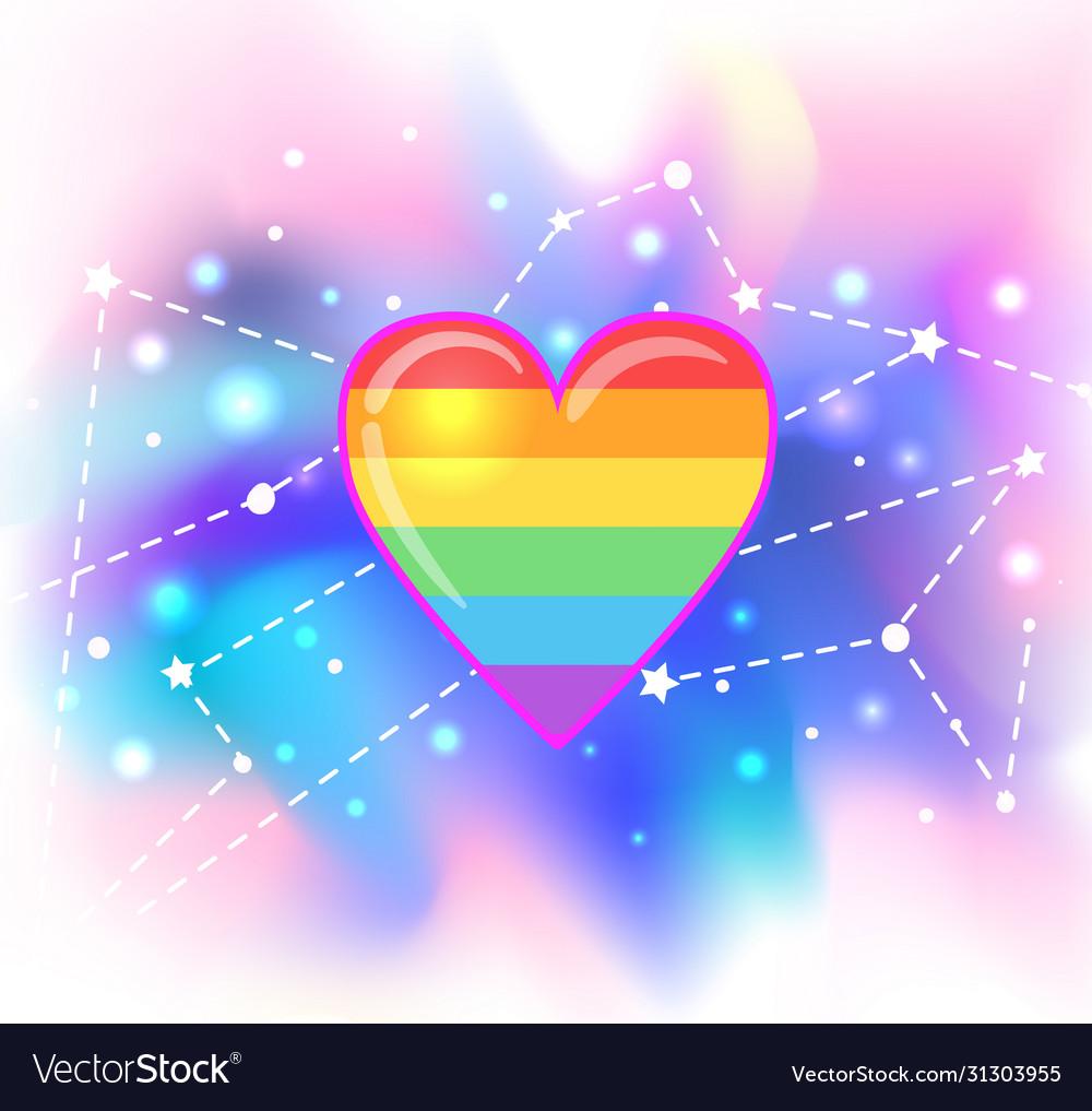 Rainbow heart symbol lgbt community gay pride