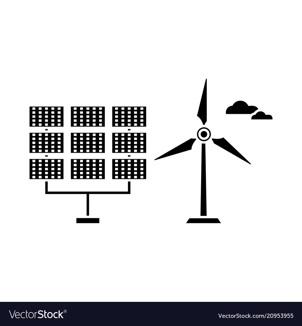 Renewable energy black icon concept renewable