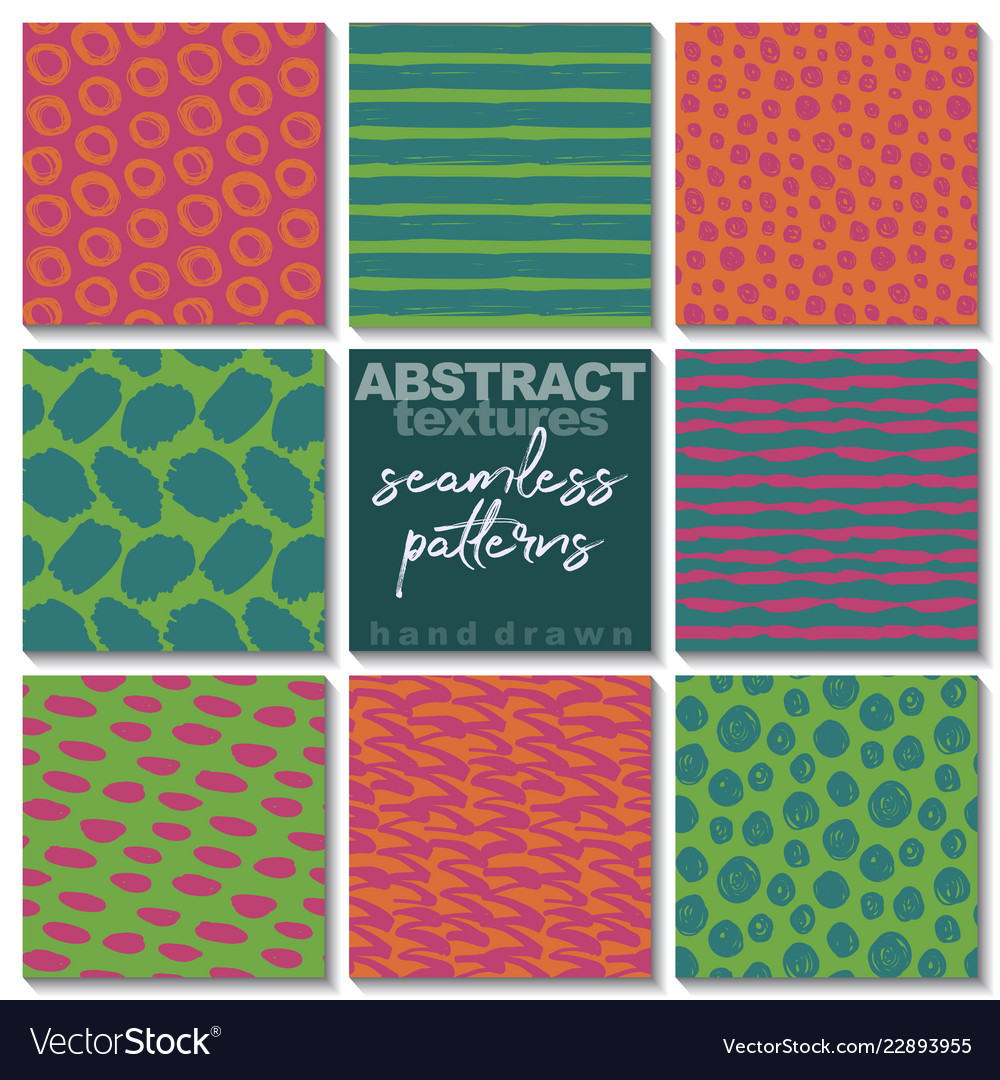 Set of eight hand drawn ink seamless patterns