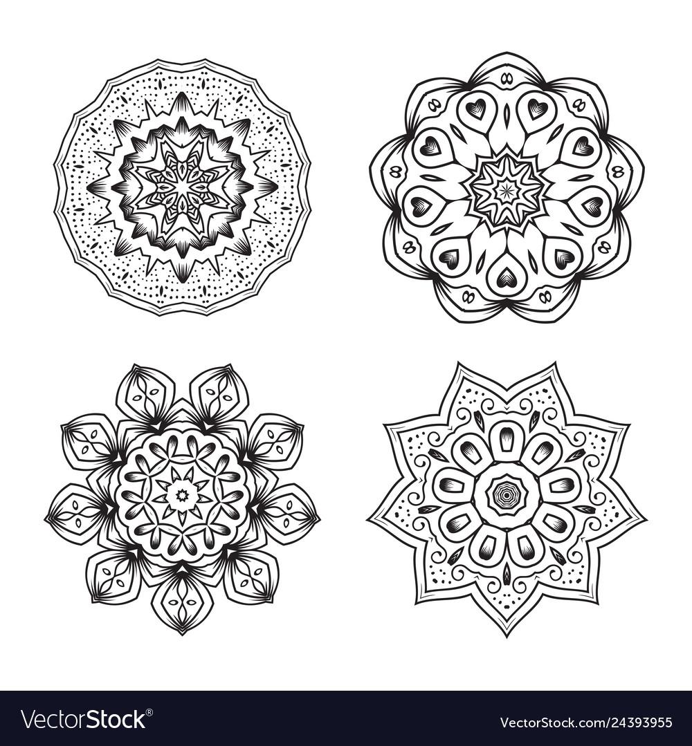 Set of ethnic fractal mandala tattoo design looks
