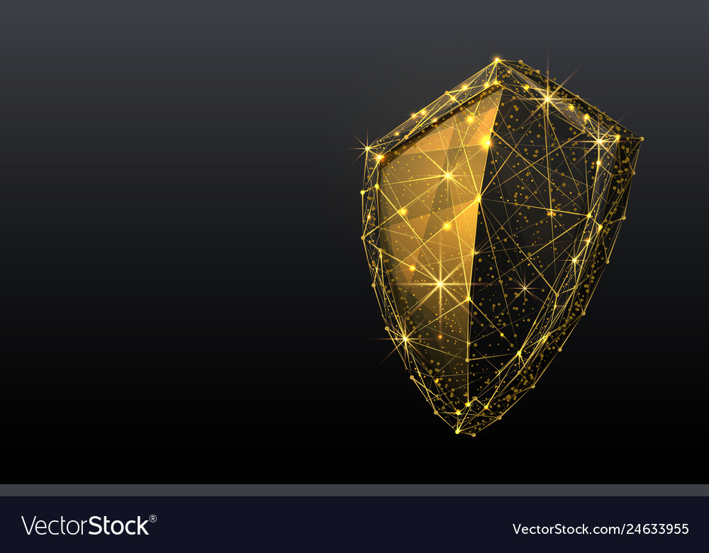 Shield low poly gold