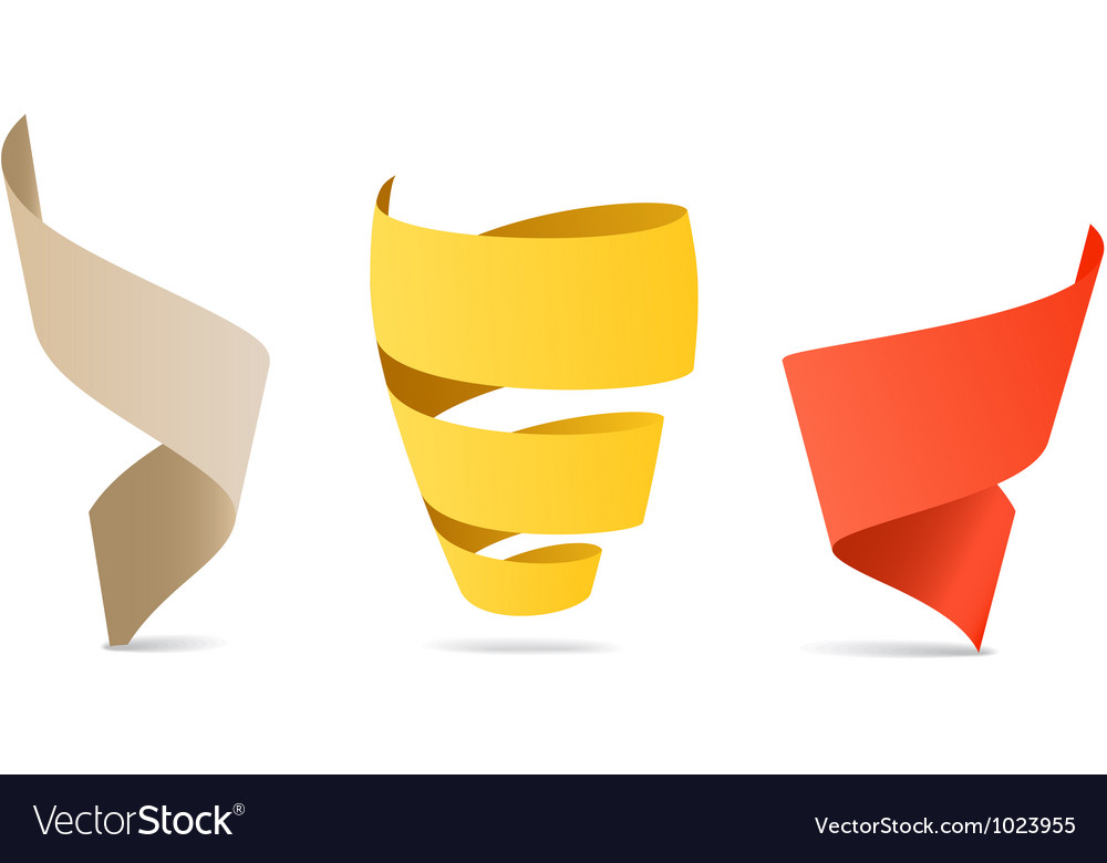 Three color origami spiral ribbons vector image