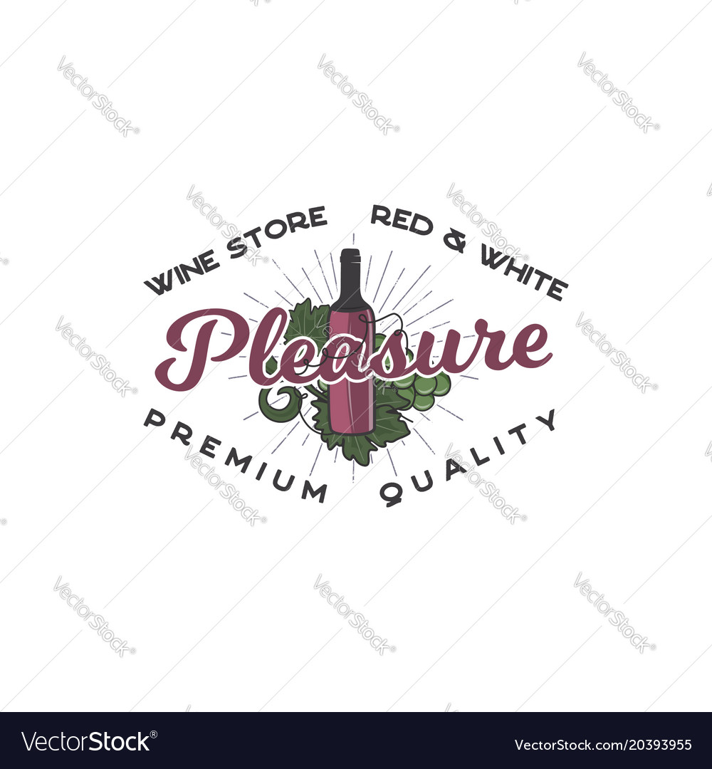 wine shop logo template concept wine bottle vine vector image