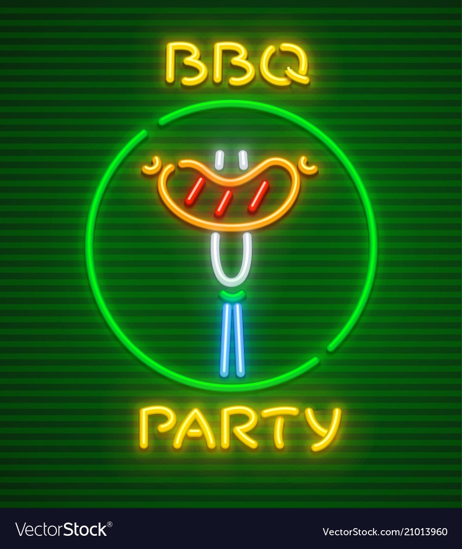 Barbecue party neon icon
