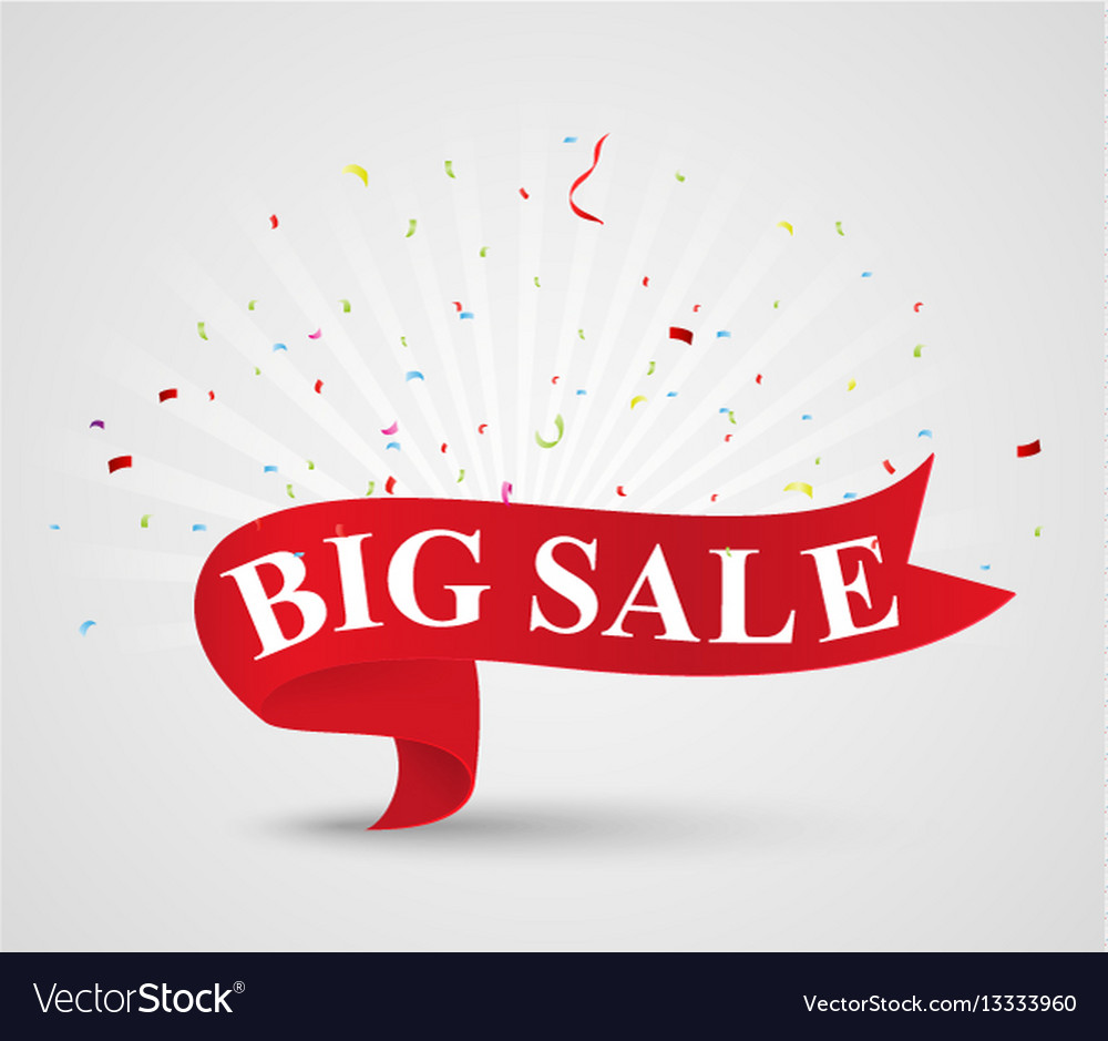Big sale banner with ribbon
